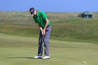 Tiarnan McLarnon (Masereene) on the 9th green during Round 4 of the East of Ireland Amateur Open Championship 2018 at Co. Louth Golf Club, Baltray, Co. Louth on Monday 4th June 2018.<br /> Picture:  Thos Caffrey / Golffile<br /> <br /> All photo usage must carry mandatory copyright credit (&copy; Golffile | Thos Caffrey)
