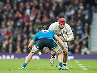 Twickenham, United Kingdom.James HASKELL, breaking with the ball, facing Abraham STEYN, during the  6 Nations International Rugby Match, England vs Italy at the RFU Stadium, Twickenham, England, <br /> <br /> Sunday  26/02/2017<br /> <br /> [Mandatory Credit; Peter Spurrier/Intersport-images]