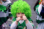17-3-2014: Great colour from a young member during the St. Patrick's Day Parade in Killarney County Kerry on Monday.<br /> Picture by Don MacMonagle