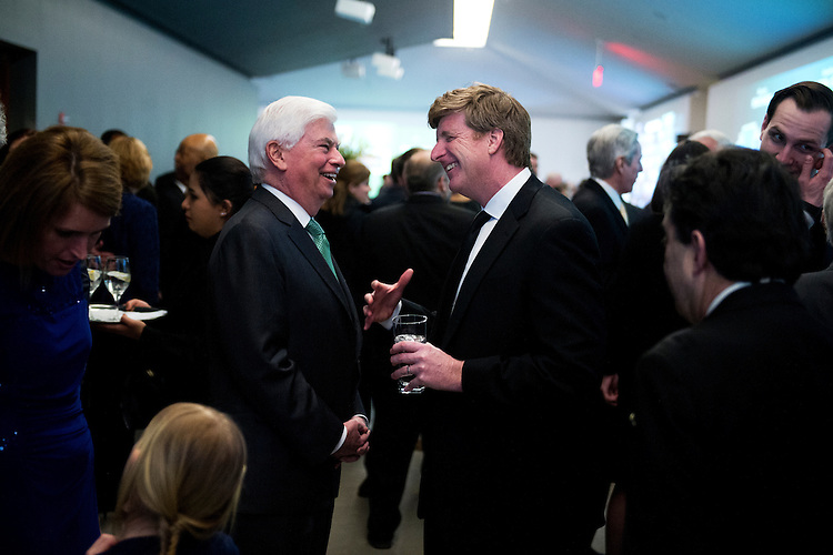 UNITED STATES - MARCH 29: Former Rep. Patrick Kennedy, D-R.I., left, talks with former Sen. Chris Dodd, D-Conn., during a gala that was part of the dedication ceremony for the Edward M. Kennedy Institute in Boston, Mass., March 29, 2015. Patrick is the son of the late Senator. (Photo By Tom Williams/CQ Roll Call)