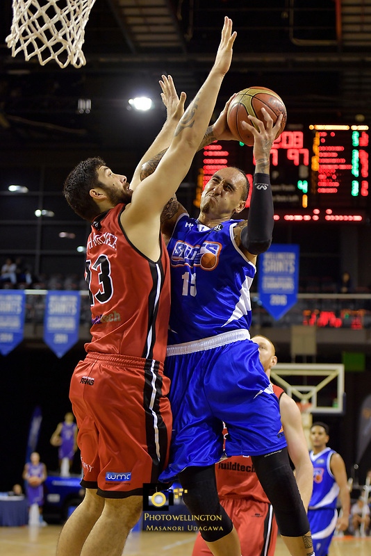 Saints'  Leon Henry in action during the NBL - Wellington Saints v Canterbury Rams   at TSB Bank Arena, Wellington, New Zealand on Saturday 8 April 2017.<br /> Photo by Masanori Udagawa<br /> www.photowellington.photoshelter.com.