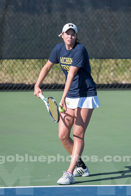 4/11/15 Women's Tennis vs. Memphis at the Varsity Tennis Center, Ann Arbor, MI.