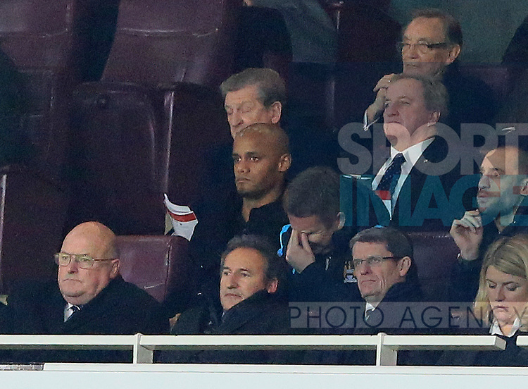 Manchester City's Vincent Kompany looks on from the stands<br /> <br /> Barclays Premier League- Arsenal vs Manchester City - Emirates Stadium - England - 21st December 2015 - Picture David Klein/Sportimage