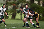 Connor Talaimanu looks for support as he is taken by T. Niha. Counties Manukau Premier Club Rugby game between Bombay & Manurewa played at Bombay on Saturday June 14th 2008..Bombay won 19 - 12 after leading 12 - 0 at halftime.