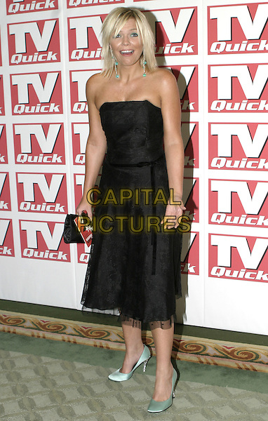 KATE THORNTON.TV Quick Awards 2004, The Dorchester Hotel, London, September 6th 2004..full length green eye shadow make-up black strapless dress green shoes.Ref: AH.www.capitalpictures.com.sales@capitalpictures.com.©Capital Pictures.