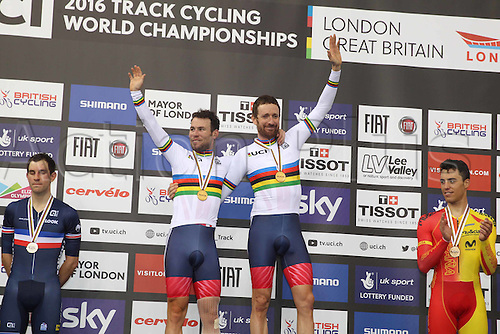 06.03.2016. Lee Valley Velo Centre, London England. UCI Track Cycling World Championships Mens Madison.  Winners and gold medalists Great Britain WIGGINS Bradley and CAVENDISH Mark on the podium