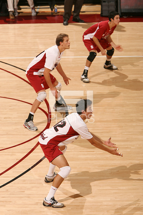 STANFORD, CA - JANUARY 30:  Kawika Shoji of the Stanford Cardinal during Stanford's 3-2 win over the Long Beach State 49ers on January 30, 2009 at Maples Pavilion in Stanford, California. Also pictured are Erik Shoji and Spencer McLachlin.