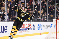 March 13, 2014 - Boston, Massachusetts , U.S. - Boston Bruins defenseman Zdeno Chara (33) celebrates a score in the first period of the NHL game between the Phoenix Coyotes and the Boston Bruins held at TD Garden in Boston Massachusetts. Eric Canha/CSM