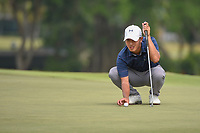Lloyd Jefferson GO (PHI) lines up his putt on 18 during Rd 3 of the Asia-Pacific Amateur Championship, Sentosa Golf Club, Singapore. 10/6/2018.<br /> Picture: Golffile | Ken Murray<br /> <br /> <br /> All photo usage must carry mandatory copyright credit (© Golffile | Ken Murray)