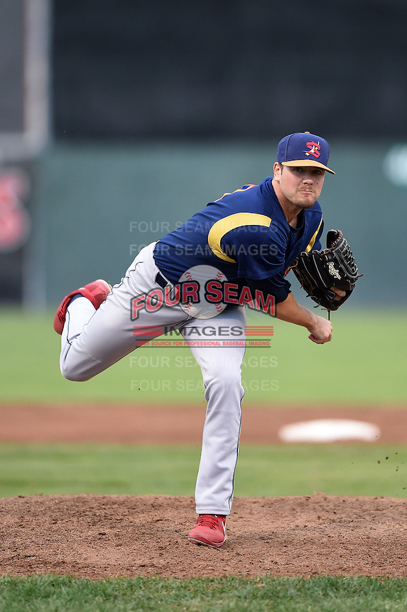 State College Spikes pitcher Trey Nielsen (31) delivers a pitch during a game against the Batavia Muckdogs on July 3, 2014 at Dwyer Stadium in Batavia, New York.  State College defeated Batavia 7-1.  (Mike Janes/Four Seam Images)