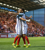 Lewis Baker (Vitesse Arnhem, loan from Chelsea) of England celebrates his goal during the International EURO U21 QUALIFYING - GROUP 9 match between England U21 and Norway U21 at the Weston Homes Community Stadium, Colchester, England on 6 September 2016. Photo by Andy Rowland / PRiME Media Images.