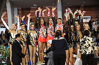 November 8, 2008; Durango, Spain (near Bilbao); (L-R) Rhythmic group gymnasts from Ukraine (2nd), Belarus (1st), Russia - Moscow (3rd) wave to fans to celebrate win during awards ceremony at 2008 Euskalgym International..