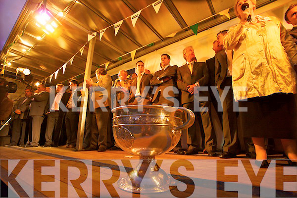 Kerry fans welcome home the Kerry team All Ireland champions in Denny Street, Tralee on Monday evening.