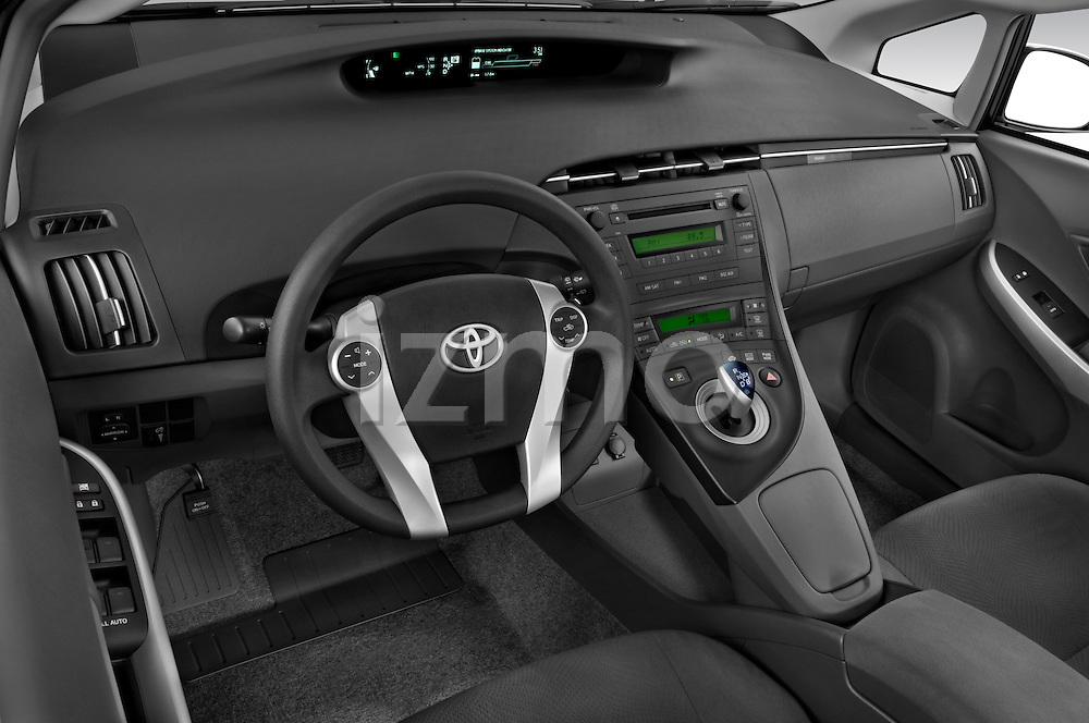 High angle dashboard view of a 2010 Toyota Prius 2