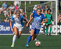 Allston, MA - Saturday August 19, 2017: Dani Weatherholt, Rosie White during a regular season National Women's Soccer League (NWSL) match between the Boston Breakers (blue) and the Orlando Pride (white/light blue) at Jordan Field.