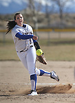 Western Nevada College's Lindsey Ashbaugh pitches in a college softball game against Salt Lake Community College at Edmonds Sports Complex in Carson City, Nev., on Fri., Feb. 14, 2014. WNC, who lost 5-14 and 5-7, will play a doubleheader Saturday beginning at noon. <br /> Photo by Cathleen Allison/Nevada Photo Source