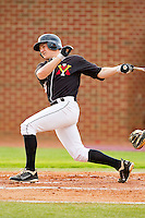 George Piccirilli #27 of the VMI Keydets follows through on his swing against the High Point Panthers at Willard Stadium on March 31, 2012 in High Point, North Carolina.  The Panthers defeated the Keydets 2-0.  (Brian Westerholt/Four Seam Images)