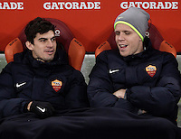 Calcio, ottavi di finale di Tim Cup: Roma vs Sampdoria. Roma, stadio Olimpico, 19 gennaio 2017.<br /> Roma's Diego Perotti, left, and Wojciech Szczesny wait for the start of the Italian Cup round of 16 football match between Roma and Sampdoria at Rome's Olympic stadium, 19 January 2017.<br /> UPDATE IMAGES PRESS/Isabella Bonotto