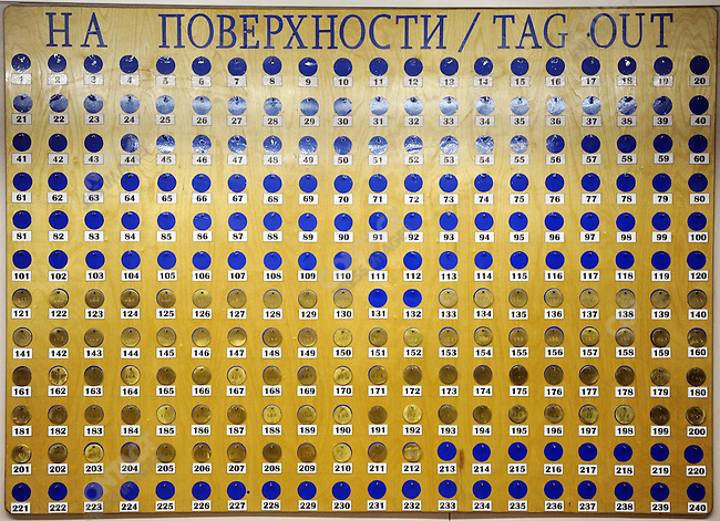 At the Kupol gold mine in Chukotka operated by the Canadian company Kinross, where production is shifting towards underground mining from open pit mining, a board with tags for breathing appartuses stood at one of the underground mine entrances. Russian Far East, February 7, 2011