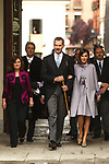 King Felipe VI of Spain, Queen Letizia and Vicepresident Carmen Calvo (L) during the Cervantes Literature Prize ceremony at the University of Alcala in Madrid on April 23, 2019. (ALTERPHOTOS/Alconada).