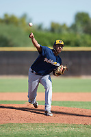 Milwaukee Brewers relief pitcher Brayan Salaya (74) delivers a pitch during an Instructional League game against the San Diego Padres at Peoria Sports Complex on September 21, 2018 in Peoria, Arizona. (Zachary Lucy/Four Seam Images)