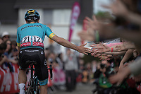 Jakob Fuglsang (DEN/Astana) pre race reaching out for high fives. <br /> <br /> 83th Flèche Wallonne 2019 (1.UWT)<br /> 1 Day Race: Ans – Huy 195km<br /> <br /> ©kramon