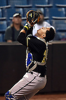 Omaha Storm Chasers catcher Francisco Pena (26) catches a foul pop up ball during a game against the Nashville Sounds on May 19, 2014 at Herschel Greer Stadium in Nashville, Tennessee.  Nashville defeated Omaha 5-4.  (Mike Janes/Four Seam Images)