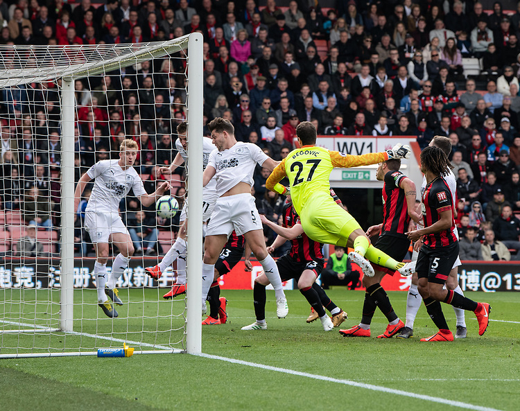 Burnley's Chris Wood scores his side's first goal  <br /> <br /> Photographer David Horton/CameraSport<br /> <br /> The Premier League - Bournemouth v Burnley - Saturday 6th April 2019 - Vitality Stadium - Bournemouth<br /> <br /> World Copyright © 2019 CameraSport. All rights reserved. 43 Linden Ave. Countesthorpe. Leicester. England. LE8 5PG - Tel: +44 (0) 116 277 4147 - admin@camerasport.com - www.camerasport.com