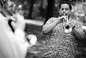 June 06, 2008. Durham, NC..North Carolina based salsa band, Orquesta GarDel.. Alberto Carrasquillo plays the trumpet.