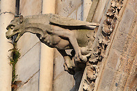Gargoyle in the shape of a winged beast on the Western facade of the Basilique Cathedrale Notre-Dame d'Amiens or Cathedral Basilica of Our Lady of Amiens, built 1220-70 in Gothic style, Amiens, Picardy, France. Amiens Cathedral was listed as a UNESCO World Heritage Site in 1981. Picture by Manuel Cohen