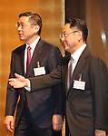 January 5, 2017, Tokyo, Japan - Japanese automobile makers leaders Nissan Motor Co-Chief Executive Officer Hiroto (L) and Toyota Motor president Akio Toyoda (R) greet guests at Japanese automobile industry associations' New Year party at a Tokyo hotel on Tuesday, January 5, 2017.  (Photo by Yoshio Tsunoda/AFLO)