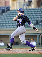 Catcher Adam Martin (11) of the Western Carolina Catamounts in a game against the Cincinnati Bearcats on Sunday, February 24, 2013, at Fluor Field in Greenville, South Carolina. Cincinnati won in 10 innings, 7-6. (Tom Priddy/Four Seam Images)