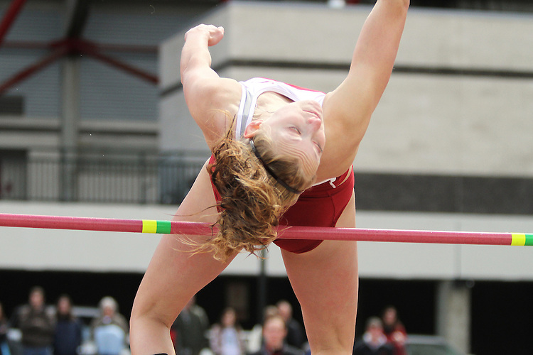 Holly Parent, Washington State freshman, clears the bar in the high jump during the Cougars dual track and field meet with arch-rival Washington at Mooberry Track at Washington State University in Pullman, Washington, on May 1, 2010.
