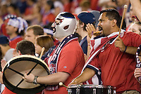 Team USA fans cheer for their team. The United States and Costa Rica played to a scoreless tie in phase one CONCACAF Gold Cup action in Group B at Gillette Stadium, Foxbourgh, MA, on July 12, 2005. Both teams have already qualified for the quarterfinals on July 16th.