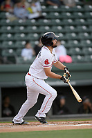 First baseman Devlin Granberg (17) of the Greenville Drive bats in a game against the Hickory Crawdads on Wednesday, May 15, 2019, at Fluor Field at the West End in Greenville, South Carolina. Greenville won, 6-5. (Tom Priddy/Four Seam Images)