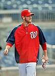 16 May 2012: Washington Nationals outfielder Bryce Harper awaits his turn in the batting cage prior to a game against the Pittsburgh Pirates at Nationals Park in Washington, DC. The Nationals defeated the Pirates 7-4 in the first game of their 2-game series. Mandatory Credit: Ed Wolfstein Photo