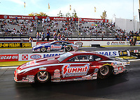 Feb 14, 2016; Pomona, CA, USA; NHRA pro stock driver Greg Anderson (near) races alongside teammate Jason Line in the final round of the Winternationals at Auto Club Raceway at Pomona. Mandatory Credit: Mark J. Rebilas-USA TODAY Sports