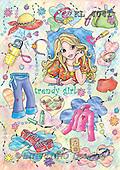 Interlitho, Dani, TEENAGERS, paintings, trendy girl(KL4041,#J#) Jugendliche, jóvenes, illustrations, pinturas ,everyday