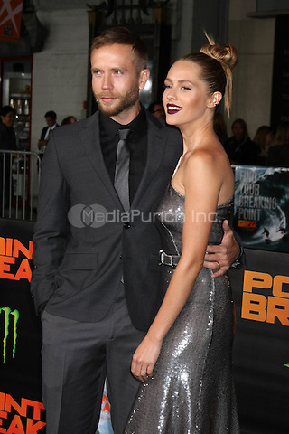 "HOLLYWOOD, CA - DECEMBER 15: Mark Webber, Teresa Palmer at the ""Point Break"" Premiere at the TCL Chinese Theater in Hollywood, California on December 15, 2015. Credit: David Edwards/MediaPunch"