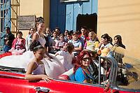 "Cuba, Trinidad.  A Girl Celebrating her 15th Birthday (""Quinceañera"")."