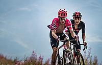 Rigoberto Uran (COL/EF) overtakes Richard Carapaz (ECU/Ineos Grenadiers) up the finish climb & the highest peak of the 2020 #TdF: the Col de la Loze (HC/2304m/21,5km @7,8%)<br /> <br /> Stage 17 from Grenoble to Méribel - Col de la Loze (170km)<br /> <br /> 107th Tour de France 2020 (2.UWT)<br /> (the 'postponed edition' held in september)<br /> <br /> ©kramon