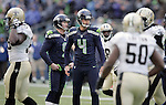 Seattle Seahawks  kicker Steven Hauschka (4)  watches his 26-yard field goal split the up rights during the 2nd round in a NFL Western Division playoff game against the New Orleans Saints at CenturyLink Field in Seattle, Washington on January 11, 2014.  Hauschka licked field three field goals of, 38, 49 and 26 yards as the Seahawks beat the Saints 22-15 to take home-field advantage in the NFL Championship Game. ©2014. Jim Bryant Photo. ALL RIGHTS RESERVED.