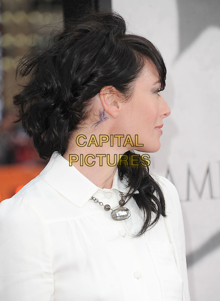 "Lena Headey.""Game Of Thrones"" 3rd Season Los Angeles Premiere held at the TCL Chinese Theatre, Hollywood, California, USA..March 18th, 2013.headshot portrait white hair profile tattoo bird necklace  .CAP/RKE/DVS.©DVS/RockinExposures/Capital Pictures."