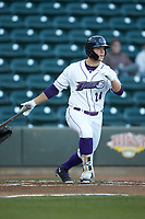Gavin Sheets (24) of the Winston-Salem Dash follows through on his swing against the Salem Red Sox at BB&T Ballpark on April 20, 2018 in Winston-Salem, North Carolina.  The Red Sox defeated the Dash 10-3.  (Brian Westerholt/Four Seam Images)