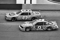 HAMPTON, GA - NOV 3:  Richard Petty, #43 Pontiac, and Bill Elliott, #9 Ford, race through a turn during the Atlanta Journal 500 NASCAR Winston Cup race at Atlanta Motor Speedway, November 3, 1985. (Photo by Brian Cleary/www.bcpix.com)