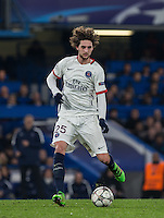 Adrien Rabiot of Paris Saint-Germain in action during the UEFA Champions League Round of 16 2nd leg match between Chelsea and PSG at Stamford Bridge, London, England on 9 March 2016. Photo by Andy Rowland.
