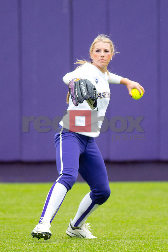 Kimi Pohlman.  The University of Washington women's softball team honored the seniors following their final home game of the regular season against Arizona State University on Sunday April 29, 2012.(Photo by Scott Eklund /Red Box Pictures)