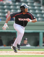 Infielder Juan Silverio (18) of the Kannapolis Intimidators, Class A affiliate of the Chicago White Sox, in a game against the Greenville Drive on May 27, 2011, at Fluor Field at the West End in Greenville, S.C. Photo by Tom Priddy / Four Seam Images