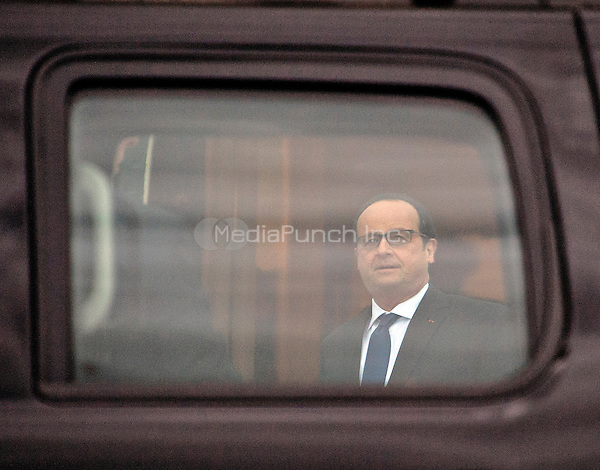 Fran&Aacute;ois Hollande, President of the French Republic is seen through the window of his limo as he arrives for the working dinner for the heads of delegations at the Nuclear Security Summit on the South Lawn of the White House in Washington, DC on Thursday, March 31, 2016.<br /> Credit: Ron Sachs / Pool via CNP/MediaPunch