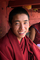 Gelukpa Tibetan Buddhist monk in the Dhokham Garther Monastery - Kham, Sichuan Province, China, (Tibet)